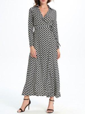 Geometric Print Maxi Wrap Long Sleeve Dress - White And Black