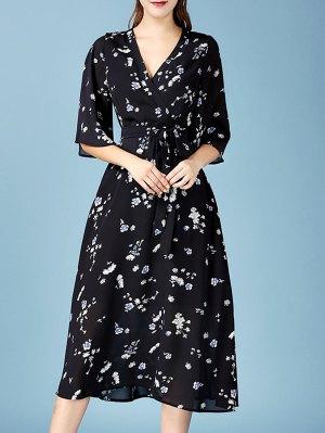 Tiny Floral Print V Neck 3/4 Sleeve Chiffon Dress - Black