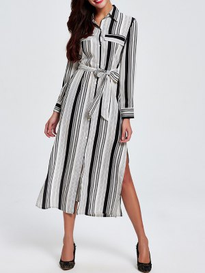 Striped Shirt Collar Long Sleeve Shirt Dress - White