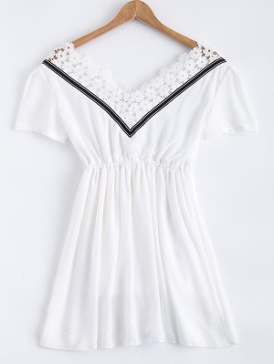 Lace Splice V Neck Chiffon Dress - White