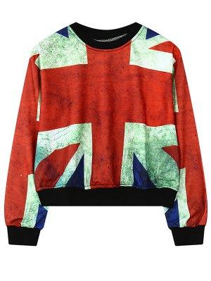 Round Neck British Flag Print Sweatshirt - Red