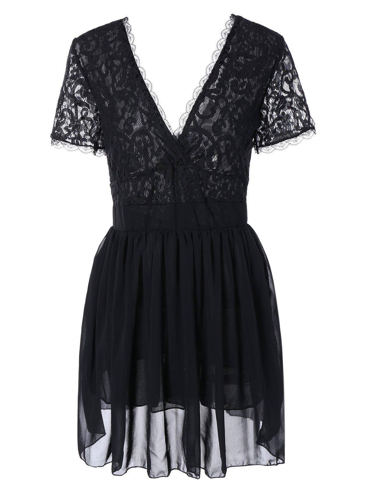 Plunging Neck Skort Sleeve Black Lace Spliced Dress