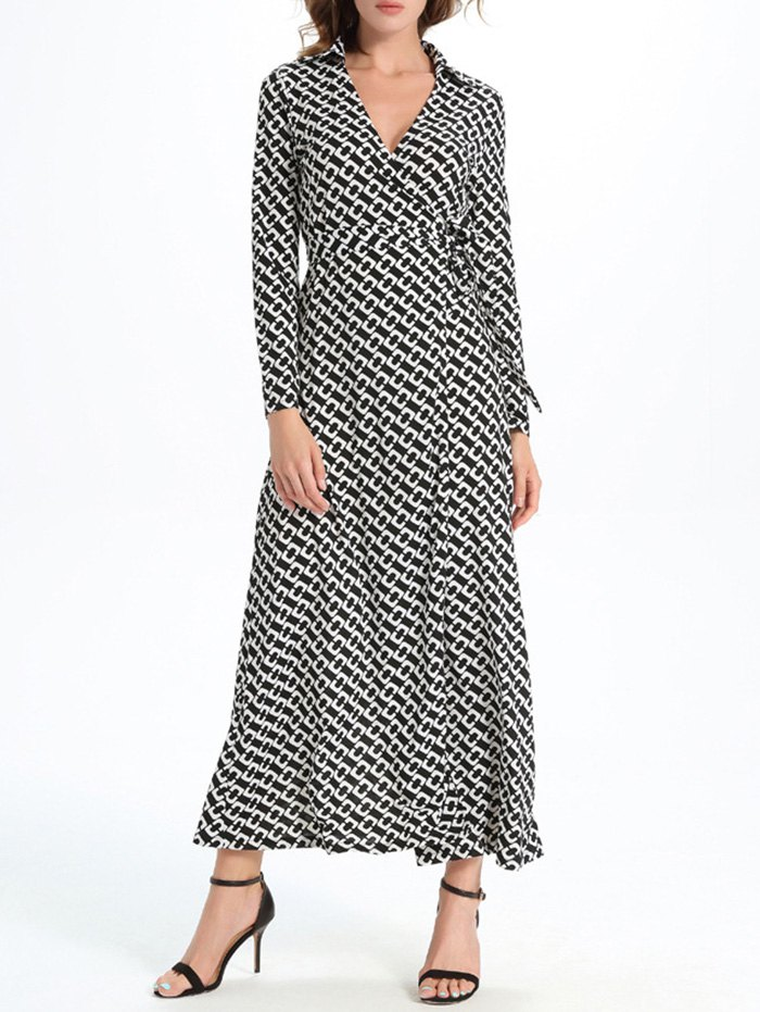 Long Sleeve Geometric Print Wrap Dress