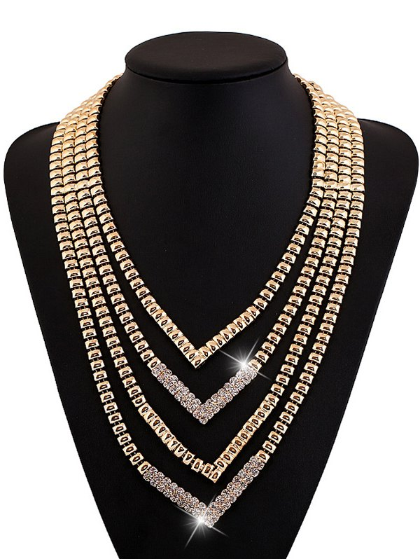 Alloy Rhinestone Layered V Shaped NecklaceAccessories<br><br><br>Color: GOLDEN