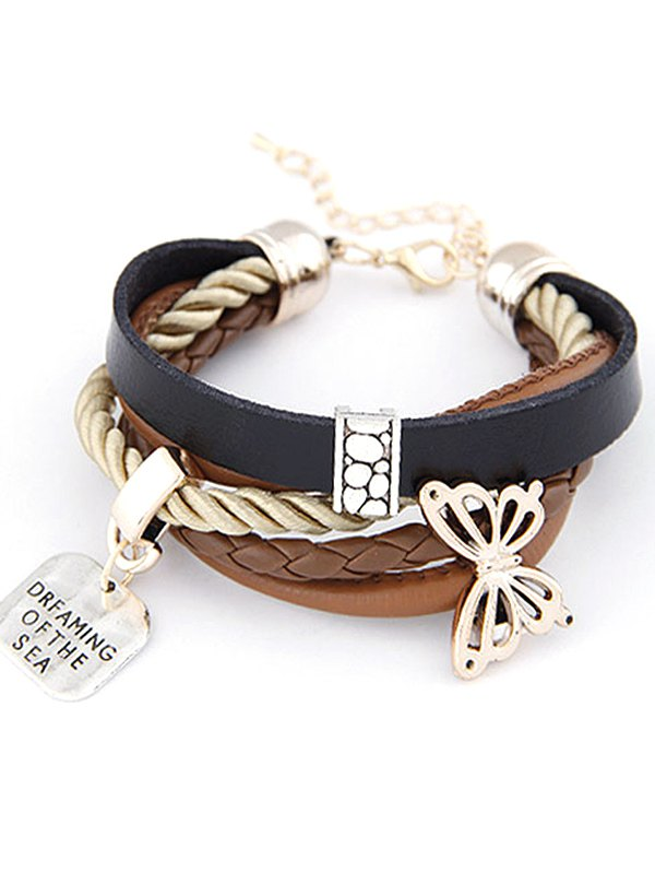 Butterfly Faux Leather Braided Bracelet