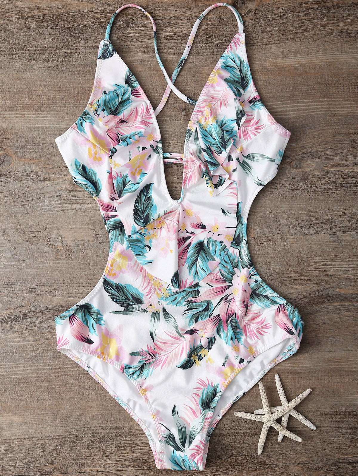 Plunging Neck Floral Print Bodysuit