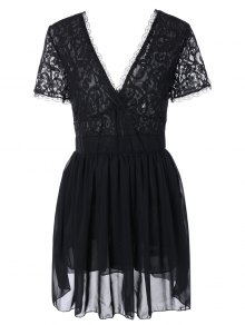 Lace Spliced Plunging Neck Sexy Birthday Dress - Black