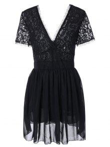 فستان دانتيل كهنوتي غارق الرقبة مثير شفاف - أسود S