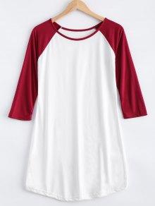 Raglan Sleeve Color Block T-Shirt Dress - White