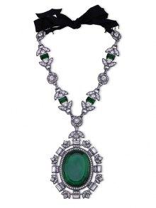 Faux Gem Rhinestone Leaf Oval Necklace
