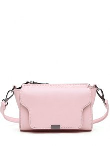 PU Leather Magnetic Closure Zipper Crossbody Bag - Pink