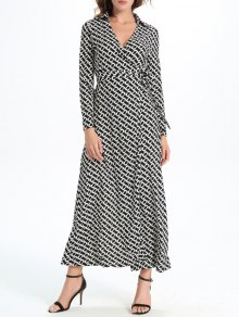 Geometric Print Maxi Wrap Long Sleeve Dress