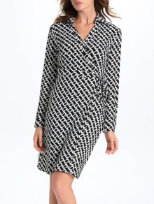 Buy Geometric Print Long Sleeve Midi Wrap Dress - WHITE/BLACK L