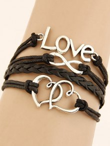 Interlink Heart Braided Bracelet - Black