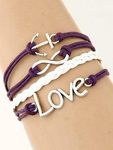 Buy Anchor Braided Bracelet PURPLE