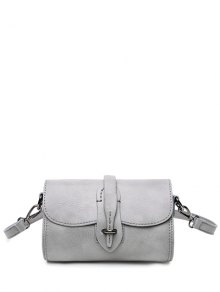 Mini PU Leather Stitching Crossbody Bag - Gray