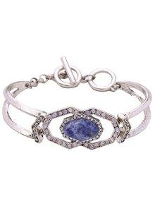 Faux Gemstone Geometric Bracelet - Silver