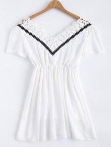 Lace Splice V Neck Chiffon Dress - White L