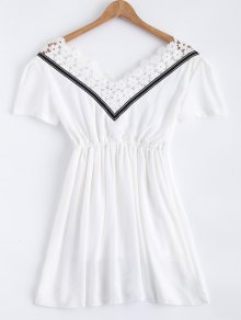 Lace Splice V Neck Chiffon Dress
