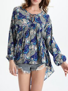 High-Low Printed Round Neck Lantern Sleeve Blouse