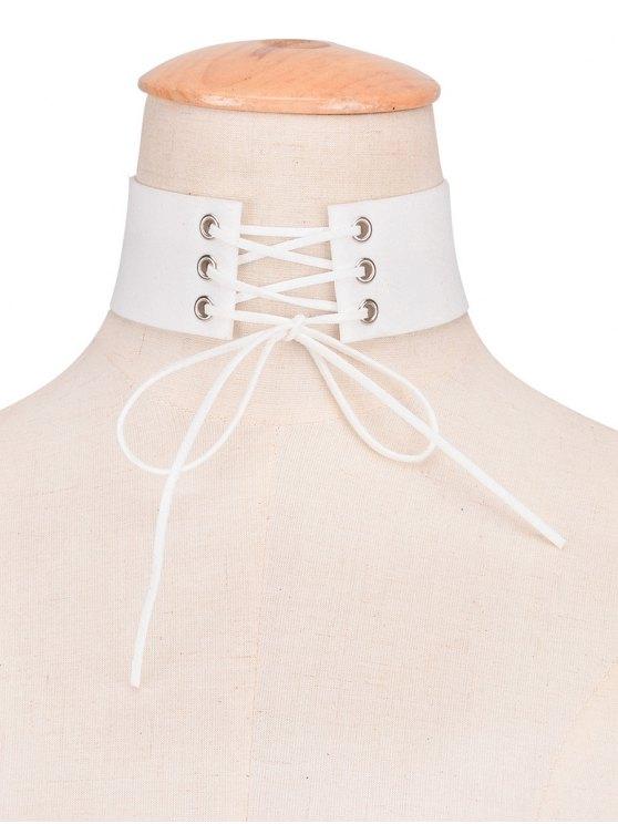 unique Faux Leather Velvet Bows Choker - WHITE