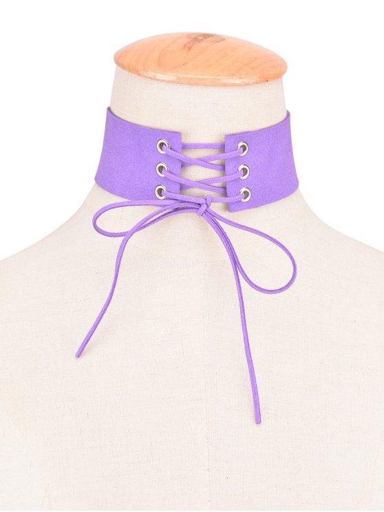 sale Faux Leather Velvet Bows Choker - PURPLE