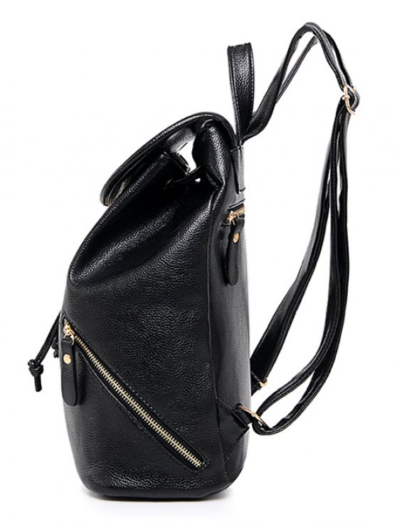 Zippers PU Leather Drawstring Backpack - BLACK  Mobile