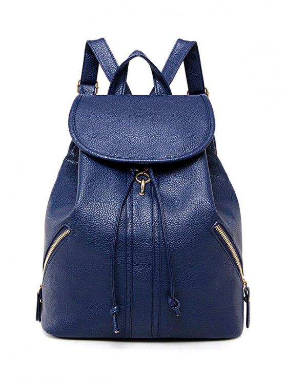 Zippers PU cuir Drawstring Backpack - Bleu Foncé