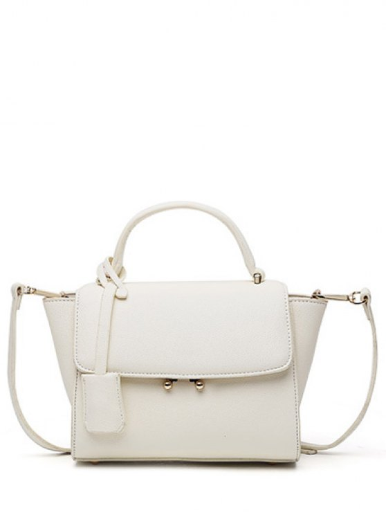 womens Light Color PU Leather Metal Crossbody Bag - OFF-WHITE