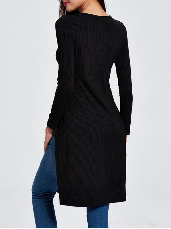 Ribbed Long Slit Knitwear - BLACK L Mobile