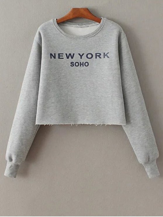 Letter Print Round Neck Sweatshirt - GRAY ONE SIZE Mobile