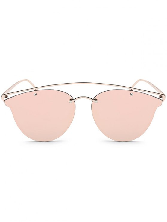 Crossbar Mirrored Butterfly Sunglasses - PINK  Mobile
