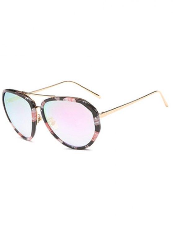 Gafas de sol de gran tamaño con espejo de la flor - Negro