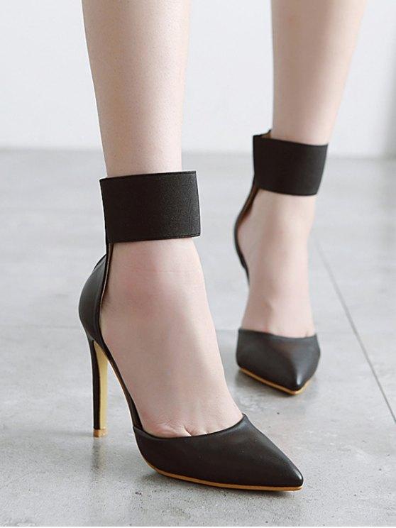 Elastic Band Stiletto Heel Pumps - BLACK 37 Mobile