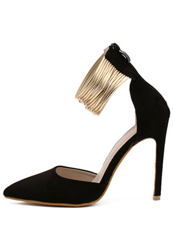 Pointed Toe Metallic Stiletto Heel Pumps - BLACK 38 Mobile