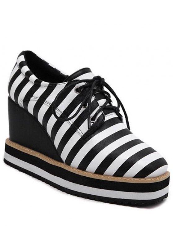 trendy Square Toe Lace-Up Striped Platform Shoes - BLACK 37