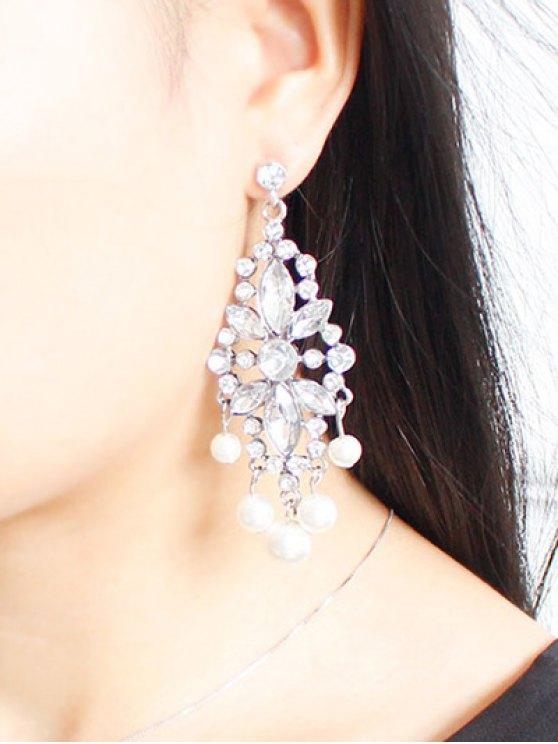 Faux Pearl Rhinestoned Wedding Jewelry Earrings - SILVER  Mobile