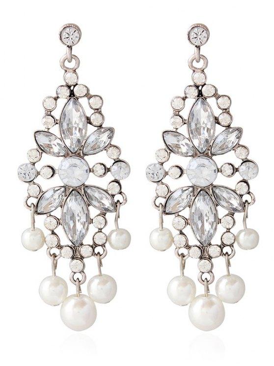 Faux Perle Rhinestoned Boucles d'oreilles Bijoux de mariage - Argent