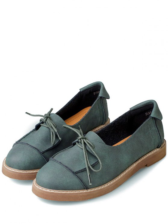 Preppy Lace-Up Flat Shoes - GREEN 37 Mobile