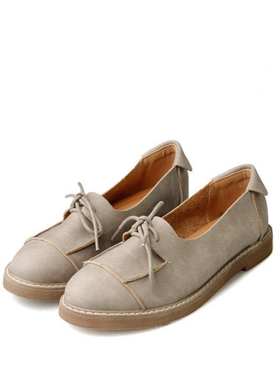 Preppy Lace-Up Flat Shoes - CAMEL 39 Mobile