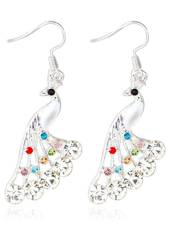 buy Rhinestone Peacock Drop Wedding Earrings Jewelry - WHITE