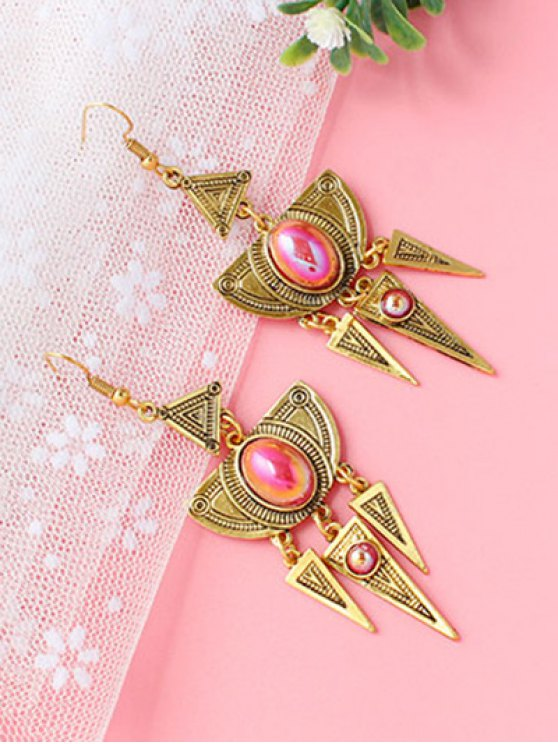 Faux Crystal Layered Alloy Geometric Earrings - GOLDEN  Mobile