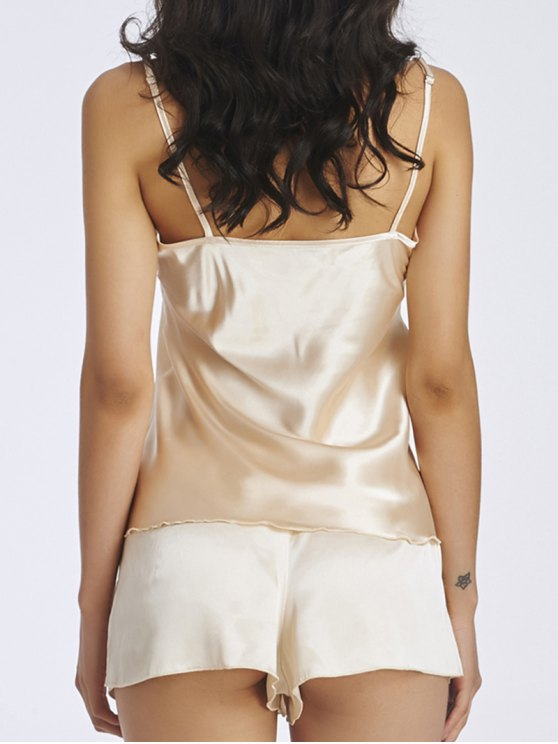 Lace Panel Spaghetti Strap Sleepwear - APRICOT S Mobile