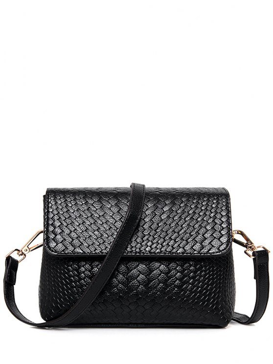 Woven PU Leather Crossbody Bag - BLACK  Mobile