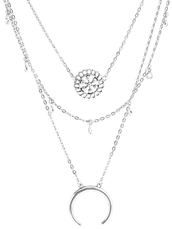 Multilayered Blossom Beads Circle Alloy Necklace - SILVER  Mobile