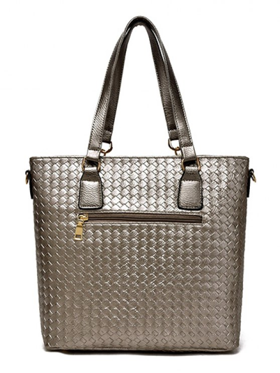 Woven Pattern PU Leather Metal Shoulder Bag - GRAY  Mobile