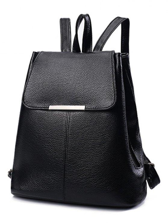 Drawstring Magnetic Closure Metal Backpack - BLACK  Mobile