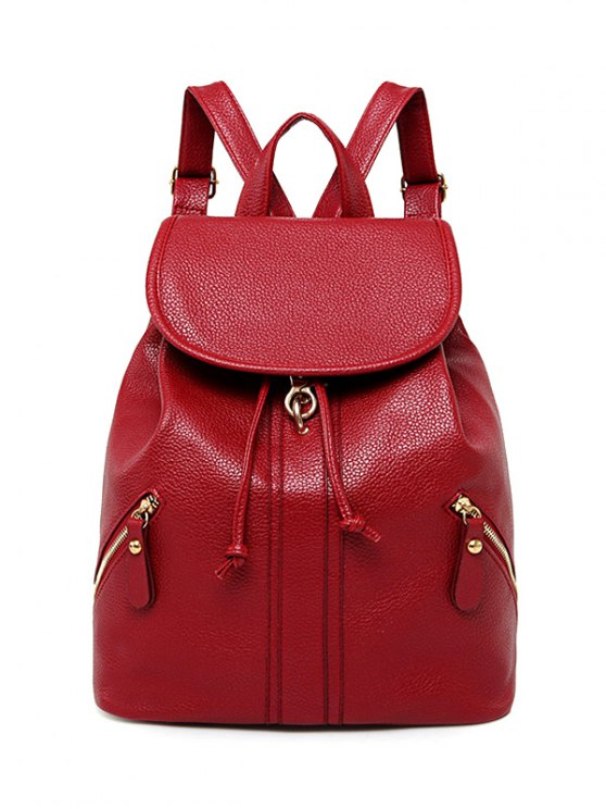 Zippers PU Leather Drawstring Backpack - RED  Mobile