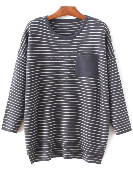 outfits Striped Drop Shoulder Sleeve Sweater - PURPLISH BLUE ONE SIZE