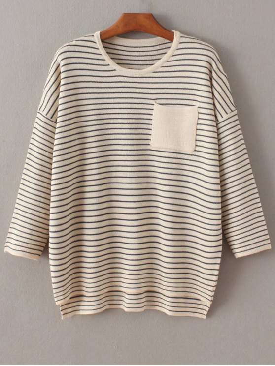 Striped Drop Shoulder Sleeve Sweater - OFF-WHITE ONE SIZE Mobile